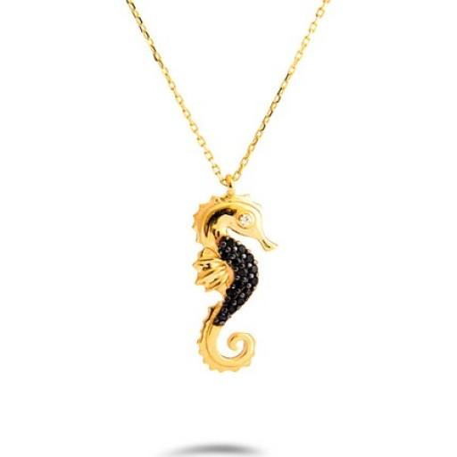 14 Ayar Sarı Altın Deniz Atı Kolye Modeli