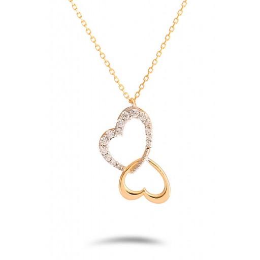14 Ayar Sarı Altın Kalpli Aşk Kolye Modeli