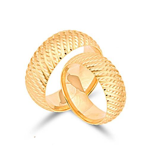 2 Adet 14 Ayar Sarı Altın Lüks Alyans Modeli