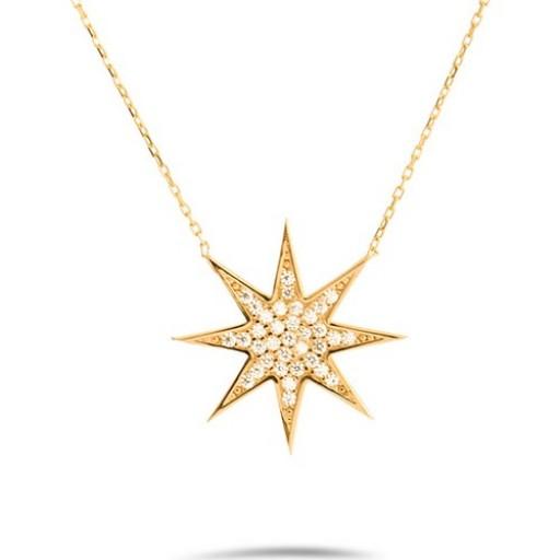 14 Ayar Sarı Altın Kuzey Yıldızı Kolye Modeli