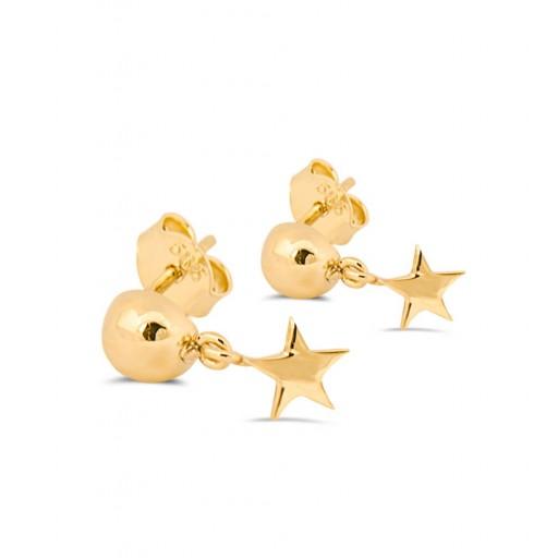 14 Ayar Altın Modern Yıldız Küpe Modeli