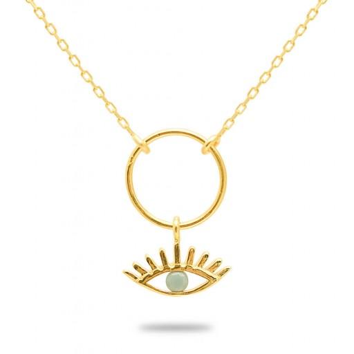 14 Ayar Altın Taşlı Göz Kolye Modeli