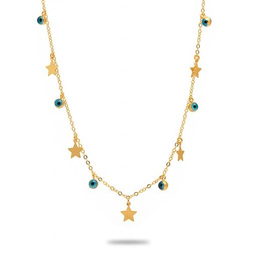 14 Ayar Altın Nazar Boncuklu  Yıldızlı Kolye Modeli