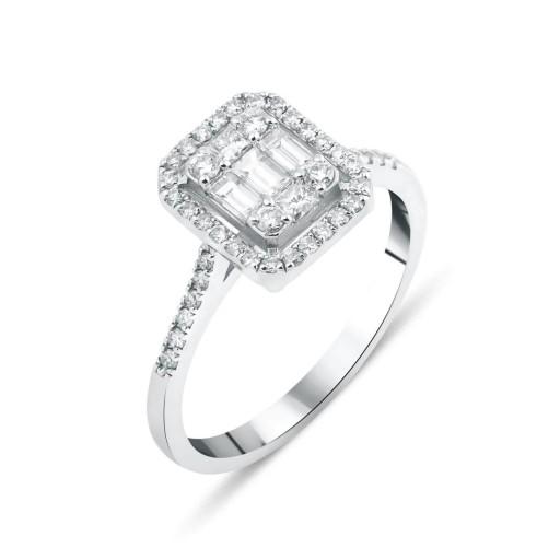 Baget Pırlanta Ankha Jewels 8 Ayar Beyaz Altın Yüzük